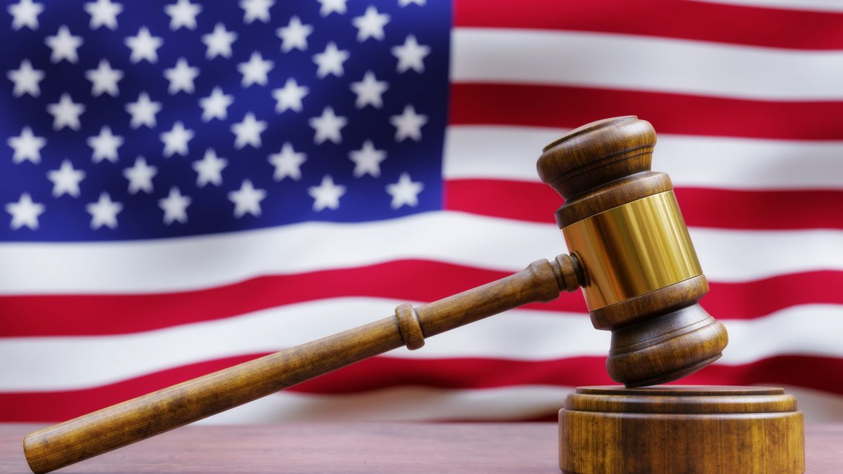 Gavel in front of American Flag